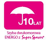 gwarancja 10 lat na szybę dwukomorową ENERGO z Super Spacer